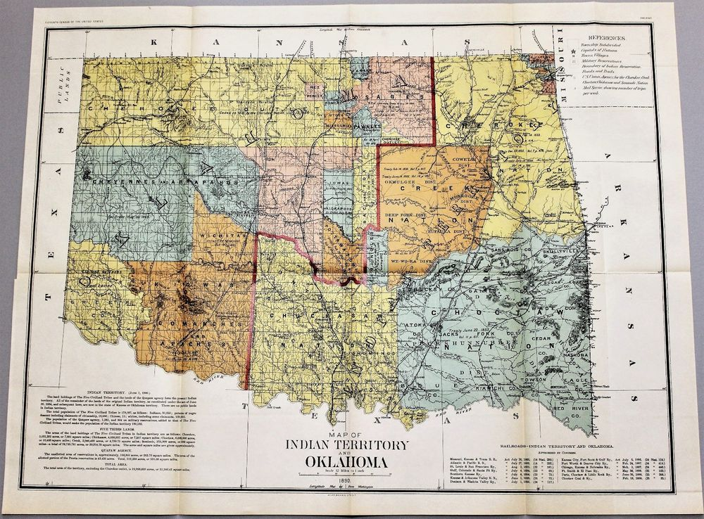 1890 Indian Territory and Oklahoma Map Census General Land