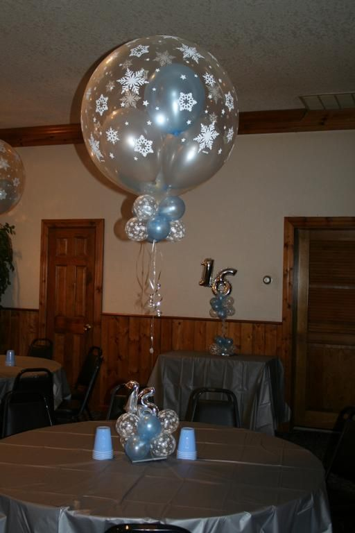Sweet 16 winter wonderland by elegant balloons llc for Balloon decoration ideas for sweet 16