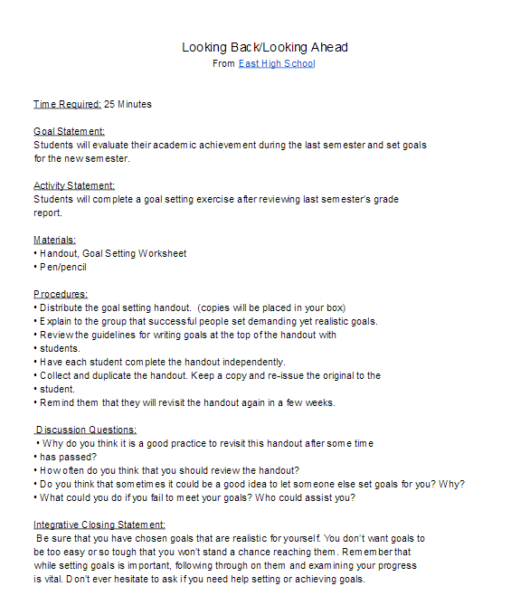 High School Goal Setting Lesson Plan For The New Semester New
