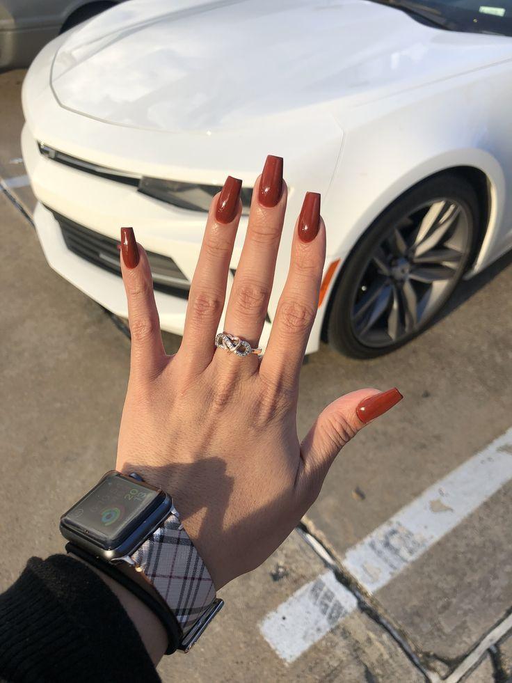 Burnt orange acrylic nails – Jesie