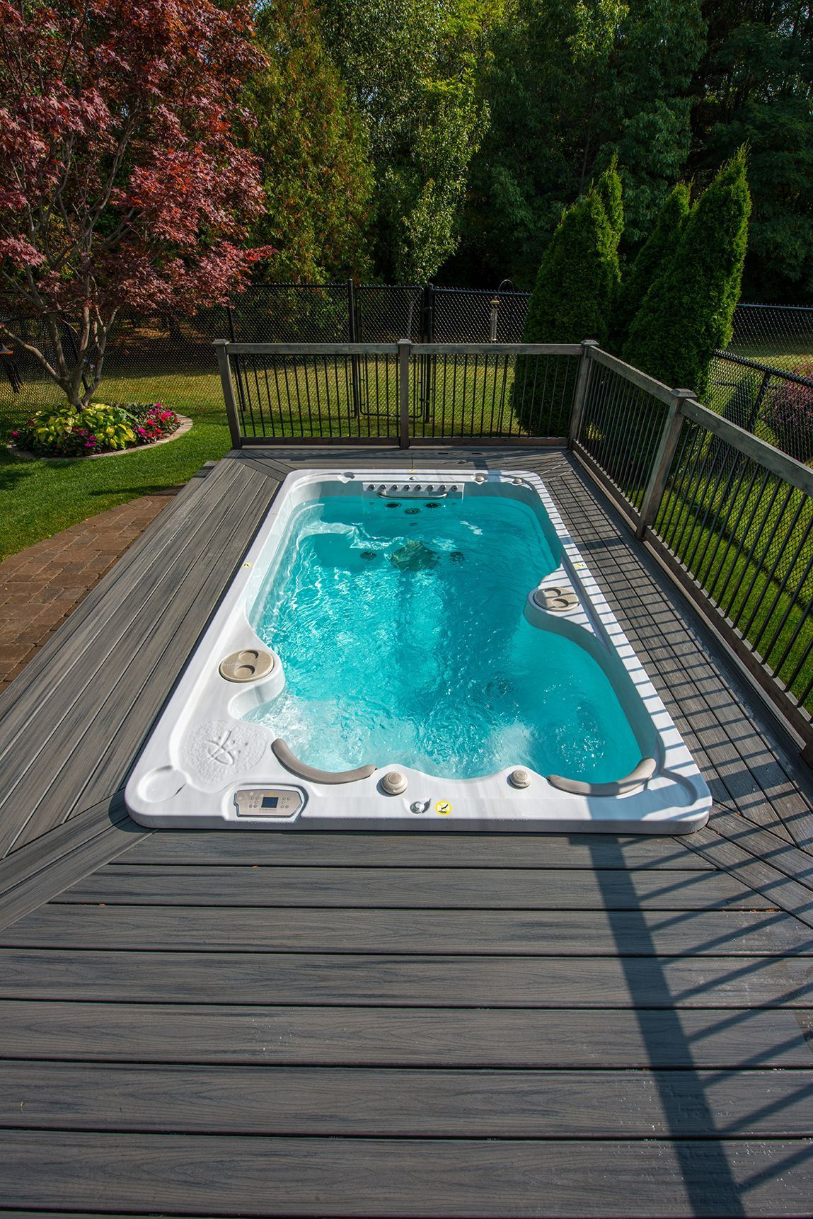 Don T Like The Above Ground Look Surround Your Swim Spa With A Deck To Give It A More Premium Look Hot Tub Backyard Swim Spa Deck Pool Hot Tub