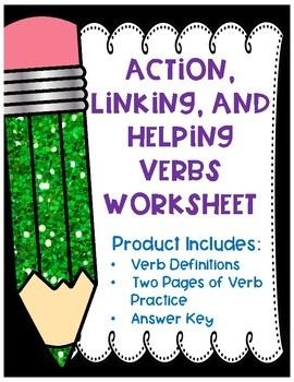Action Linking And Helping Verbs Worksheet By Extraordinary Ela Teachers Pay Teachers Helping Verbs Helping Verbs Worksheet Verb Worksheets