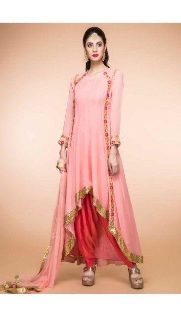 e0e677ffe9 Peach Georgette Trail Cut Patiala Suit With Dupatta - 1823 | Diwali ...