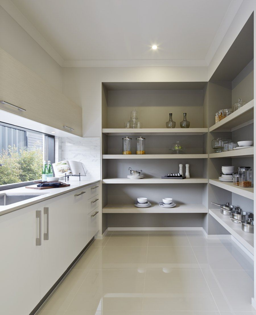 Love the darker paint colour inside the pantry shelving kitchen