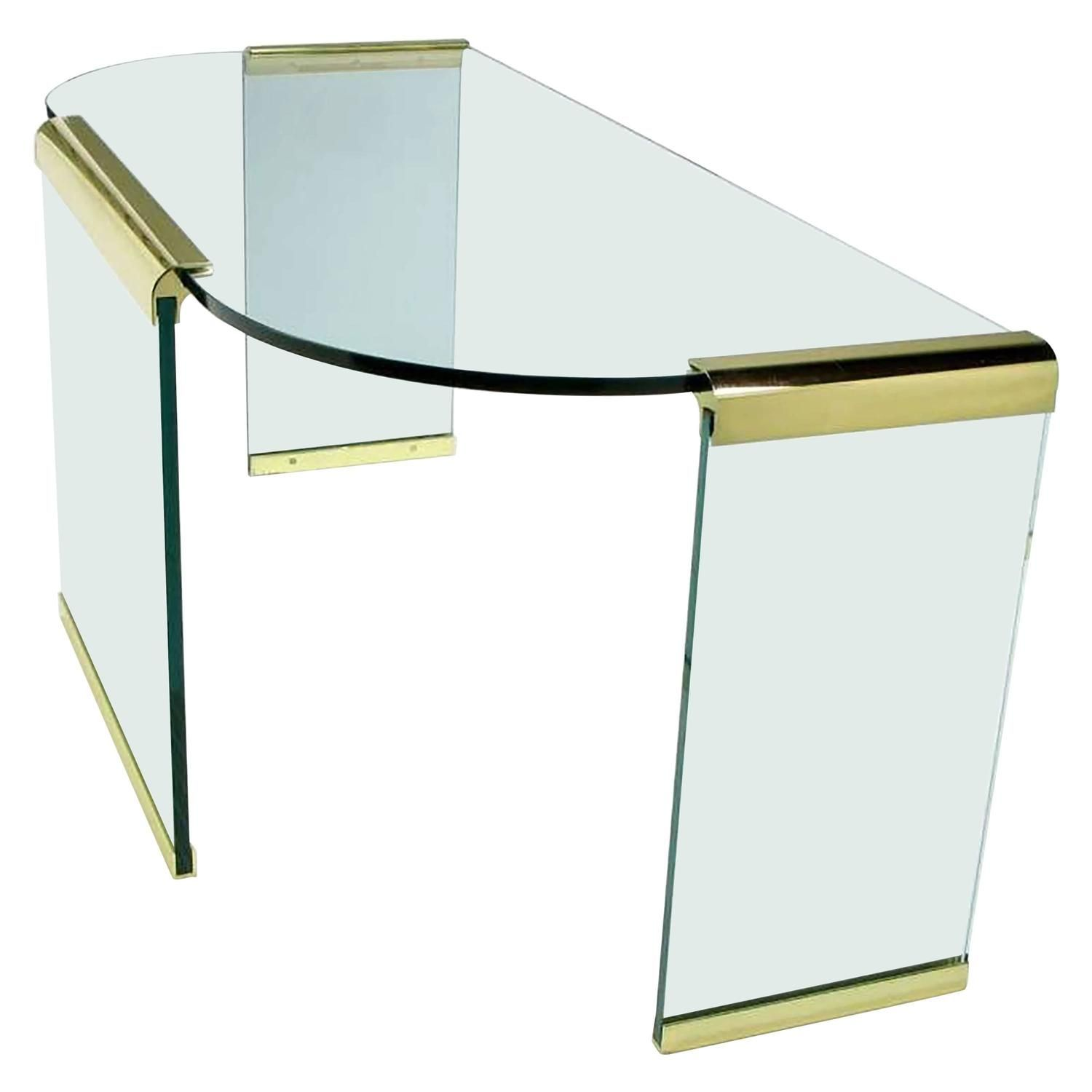 20th Century Brass And Glass Desk By Leon Rosen For Pace Collections Glass Desk Vintage Desk Vintage Table