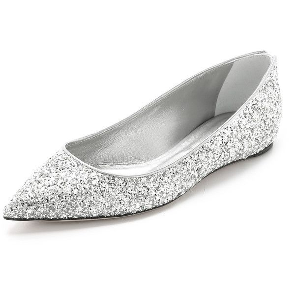 1736a20801ba Casadei ballet flats cut from shimmering, glitter-coated fabric.  Pointed-toe profile. Metallic piping at top line. Calfskin lining and  leather sole.