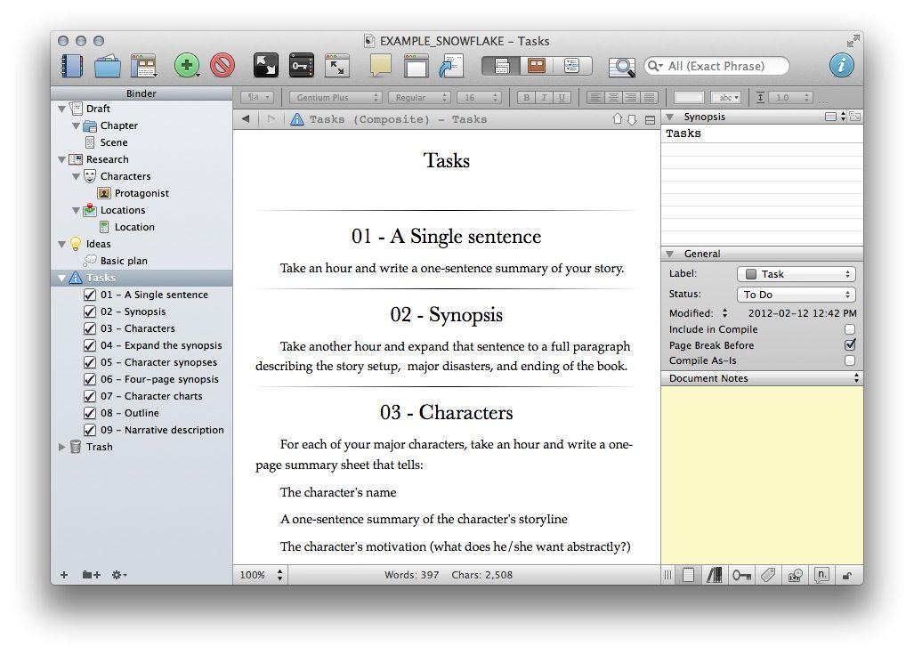 Snowflake Method Template For Scrivener 2x Write Pinterest