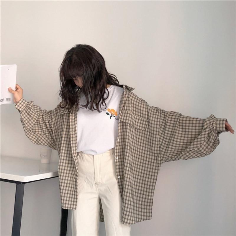 Casual Plaid Loose Korean Style Shirt