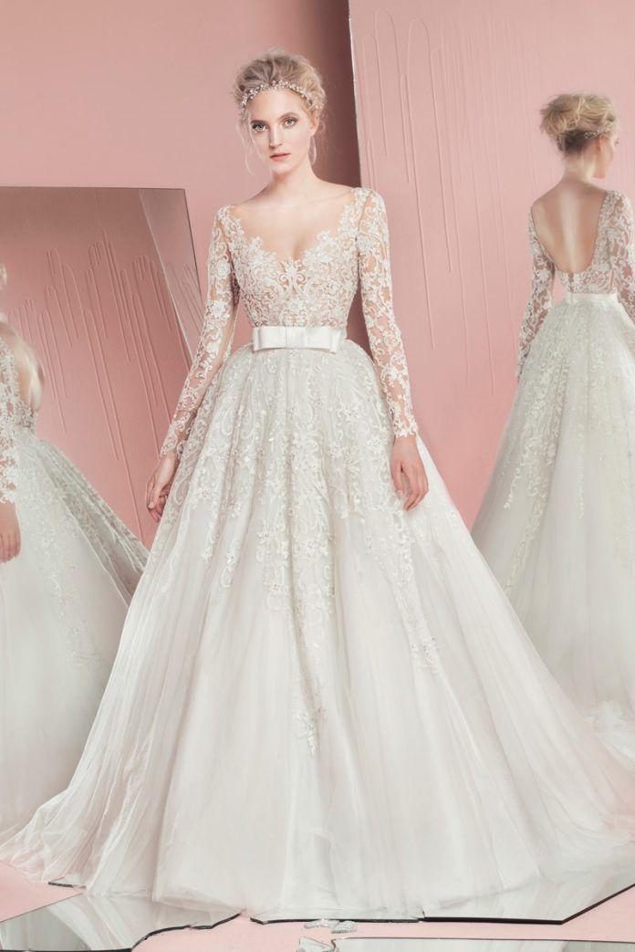 81be22e2f60e4 V Yaka Gelinlik Modelleri 2016-2017 Trendleri   Wedding Dresses ...
