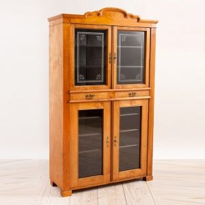 Antique Austrian Art Nouveau Glass Cupboard In Ash C 1890 With