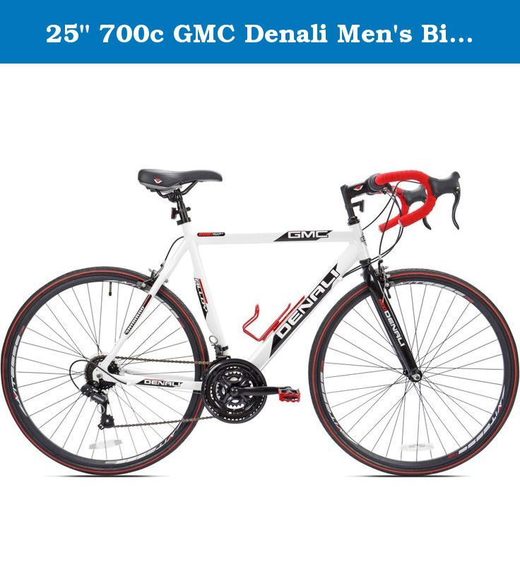 25 700c Gmc Denali Men S Bike White Red The 700c Gmc Denali Men S Road Bike Is Built Around A Lightweight Aluminum Frame Gmc Denali Man Bike Road Bikes Men