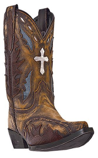 Dan Post Vintage Cross Inlay Cowboy Boots Snip Toe