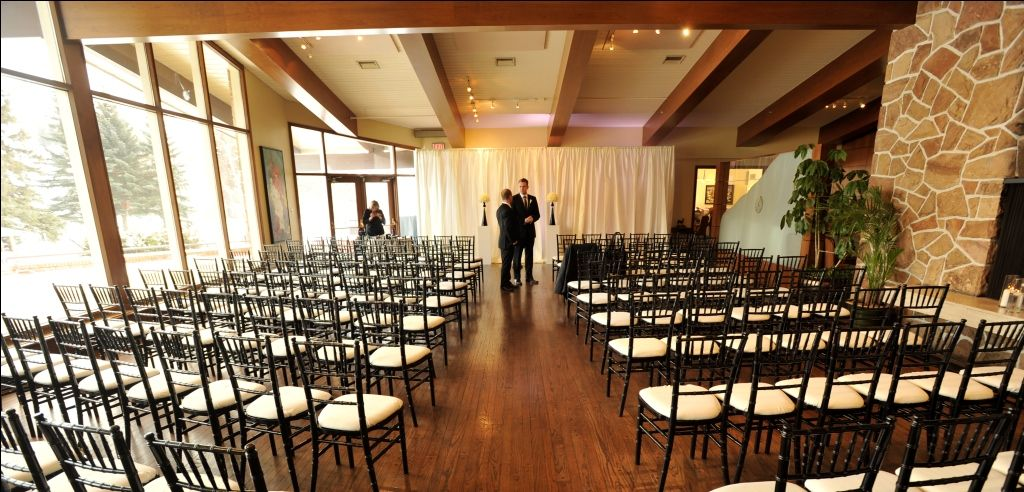 modern black and ivory ceremony design going to the chapel