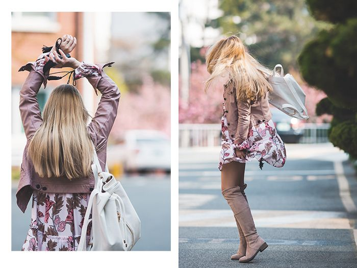 bee635a5017 Olga Choi fashion blogger South Korea myblondegal minimalism smart chic  Choies pink leather jacket Romwe floral boho dress Choies dusty pink  over-knee boots ...