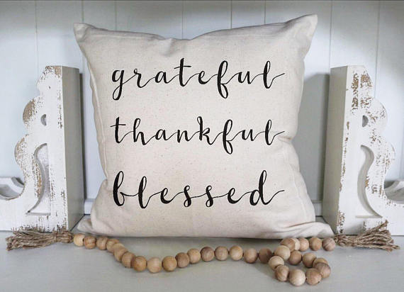 Pillow Cover Grateful Thankful Blessed Thanksgiving