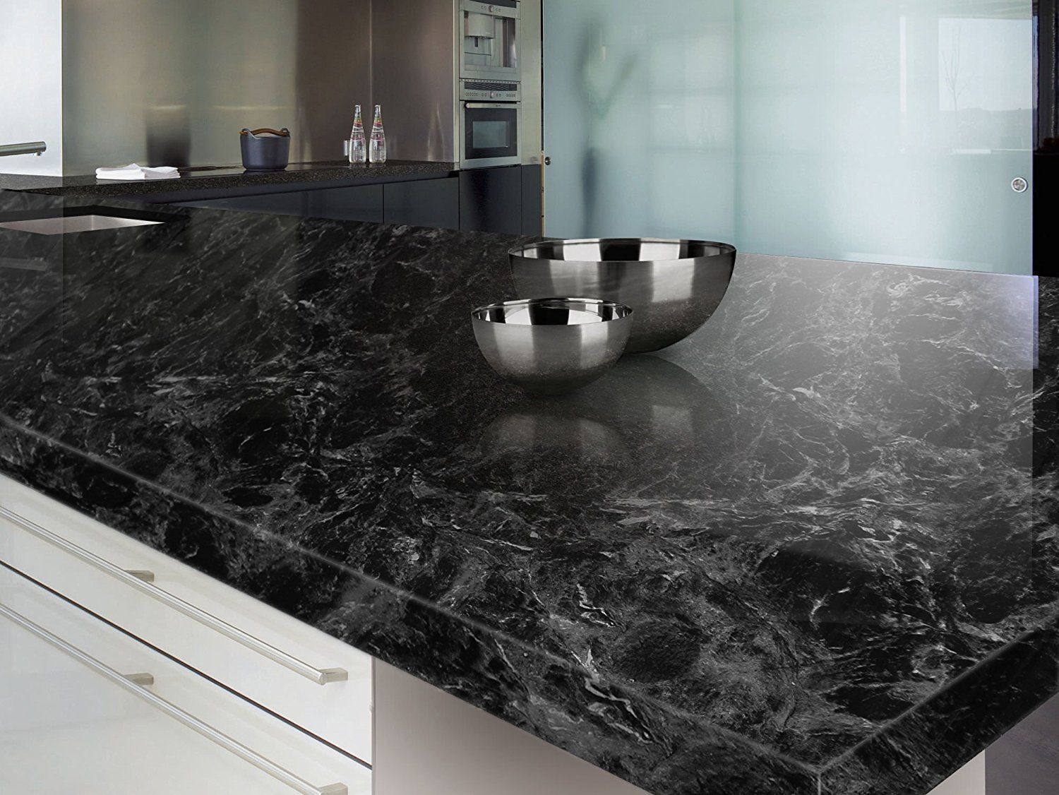 Black Marble Adhesive Film High Gloss Economical Alternative