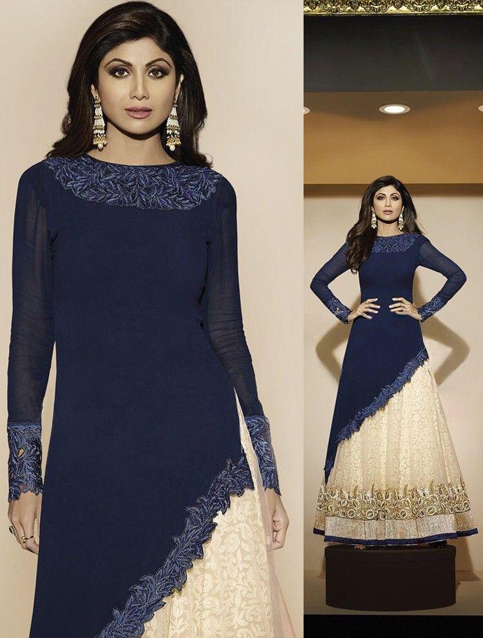 6551fa90b3 Blue Georgette Skirt Designer Suit with Dupatta - SALWAR KAMEEZ - Women
