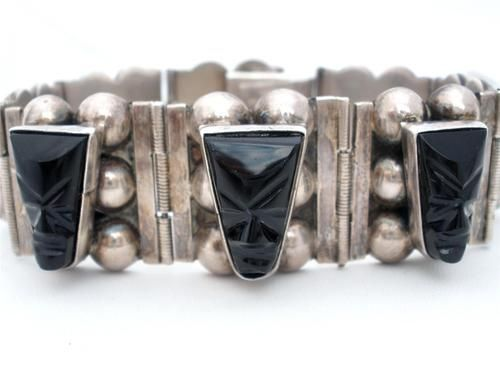 Sterling Silver Carved Black Onyx Early Tribal Mask Face