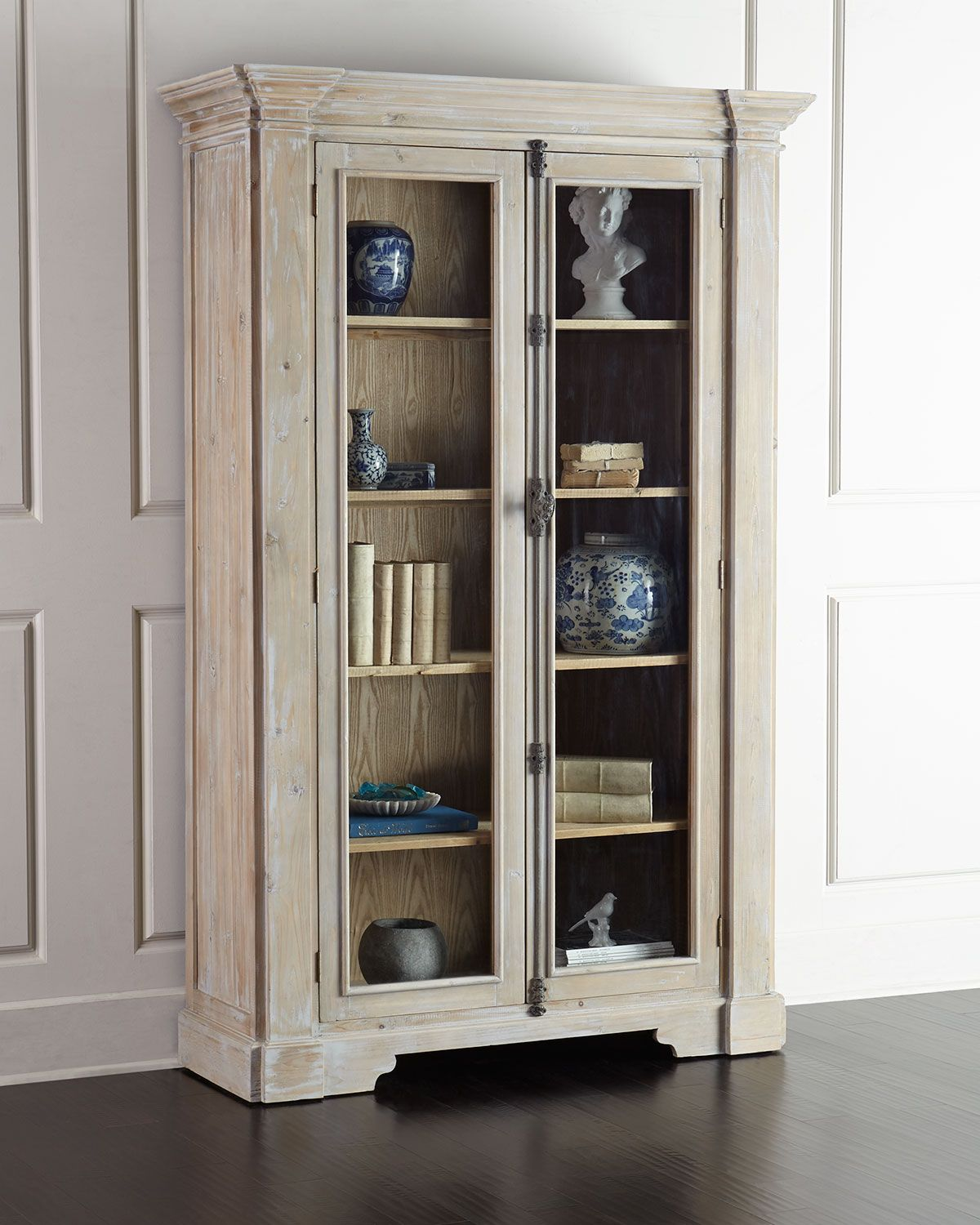 Heather Tall Bookcase Bookcase Shelves White Washed Furniture