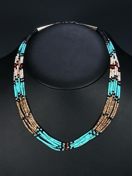 Native American Jewelry Necklaces and Pendants -  Santo Domingo Multi-Strand Turquoise and Jet Necklace  - #american #Jewelry #jewelryshop #modernjewelry #native #necklaces #pearljewelry #pendants #turquoisejewelry