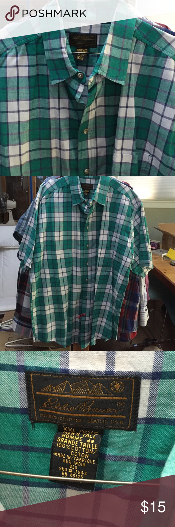 Men's Eddie Bauer Plaid SS Shirt 2XLT Men's tall. Hundred percent cotton. Colors are green and navy and white. Eddie Bauer Shirts Casual Button Down Shirts