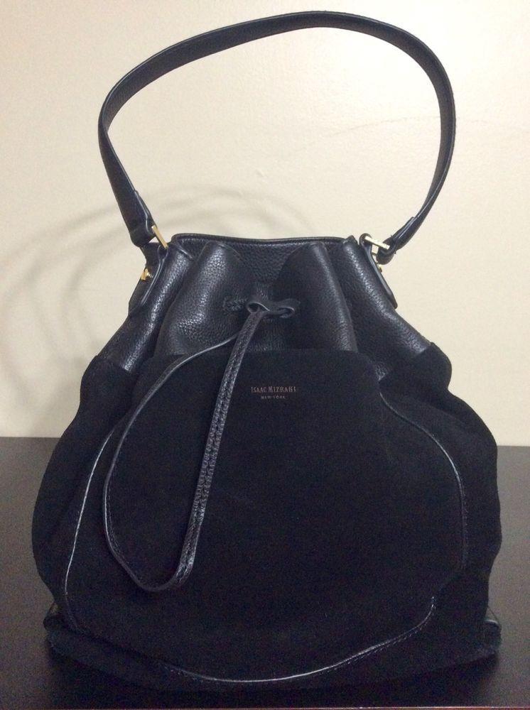 Isaac Mizrahi Black Suede Leather Bucket Bag Single Strap Shoulder Handbag Isaacmizrahi Bucketbagshoulderbag
