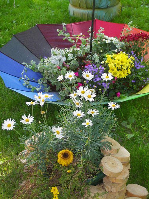 garden-decorating-ideas-colorful-umbrella-garden-decor-flowers | Re ...