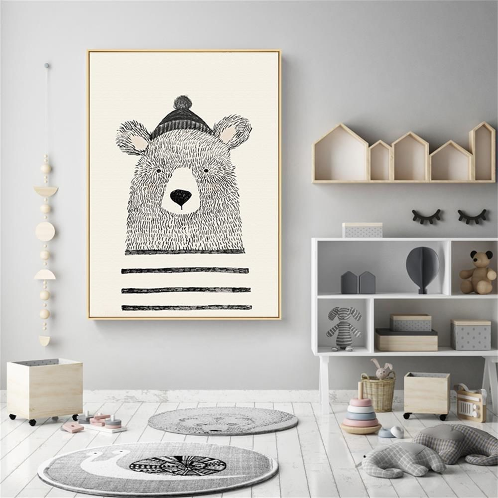 Poster Toile - Ours croquis  Tableau chambre bebe, Tableau
