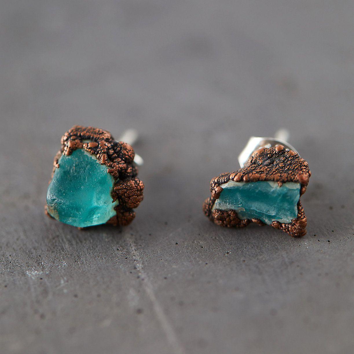 Raw Apatite Studs Terrain Raw mineral jewelry, Mineral