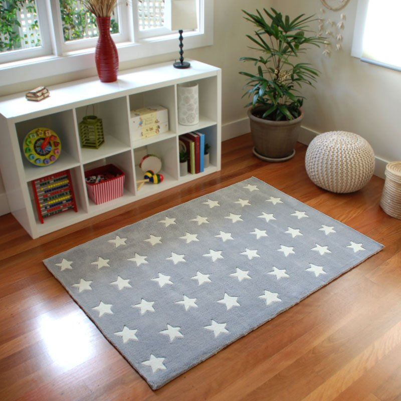 All Star Kids Rug In Grey From Bugrugs The Perfect Neutral Children S Done Is A Soft With White Stars Great For Baby Nursery Child Bedroom