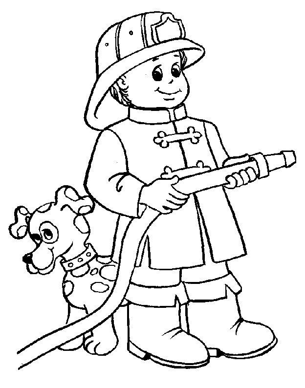 Výsledek obrázku pro hasič omalovánka   Povolání - MŠ   Pinterest ...