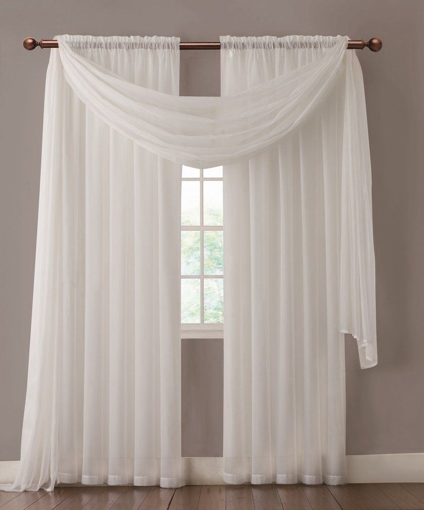 Warm home designs pair of white sheer curtains or extra for Sheer panel curtain ideas