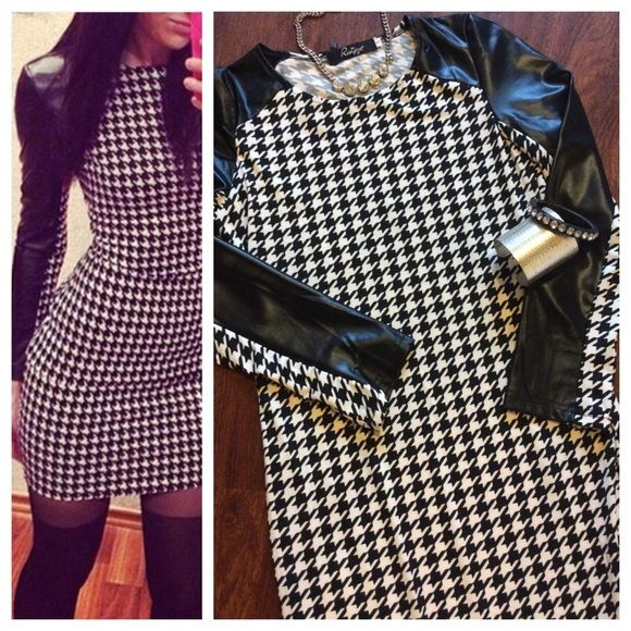 """Houndstooth dress Super sexy houndstooth dress with faux leather sleeves. Crew neck and all over houndstooth print. No fabric tag (?) but I believe it's a poly/spandex blend, super stretchy to hug curves. Unlined. Pull on design. Size Small, 16"""" chest and 34"""" total length. NWT - perfect unworn condition. Dresses"""