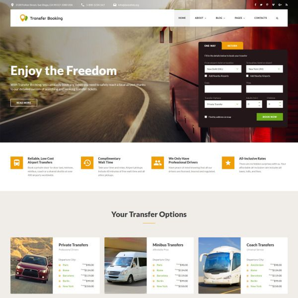 Transfer Booking  Airport Shuttle Services Website Template is part of Website template, Business website templates, Website template design, Bootstrap template, Corporate website design, Templates - Transfer Booking is an airport shuttle services Bootstrap template with an integrated booking form, multipage structure, and mobilefriendly design