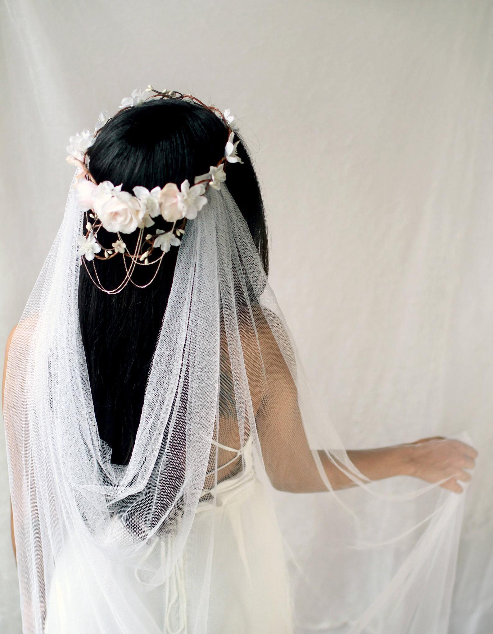 Bridal vine crown white flower crown blush floral