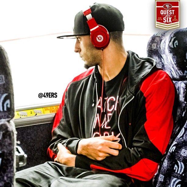 Colin Kaepernick. On his way to Super Bowl XXLVII practice