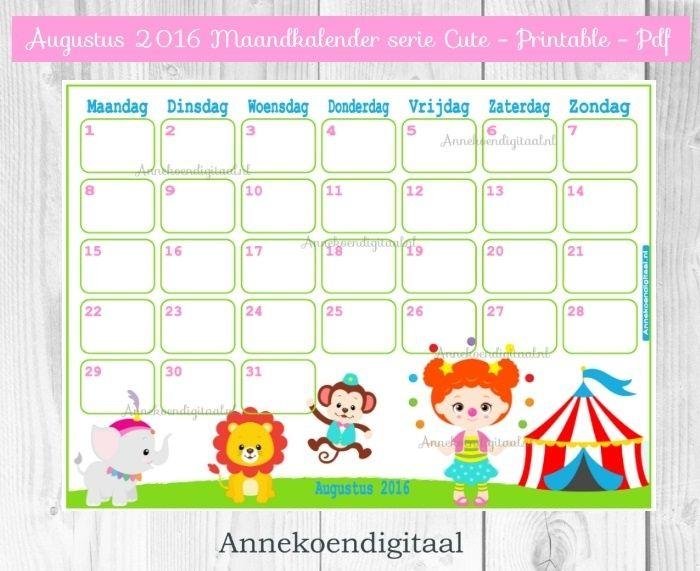 augustus 2016 kalender serie cute kalender voor kinderen vakantiekalender webshop. Black Bedroom Furniture Sets. Home Design Ideas