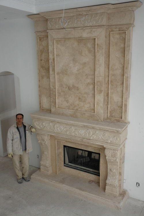 Custom Limestone Fireplace Mantel New York Newark California
