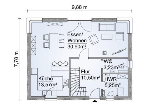 Grundriss Einfamilienhaus 100 qm, Erdgeschoss rechteckig