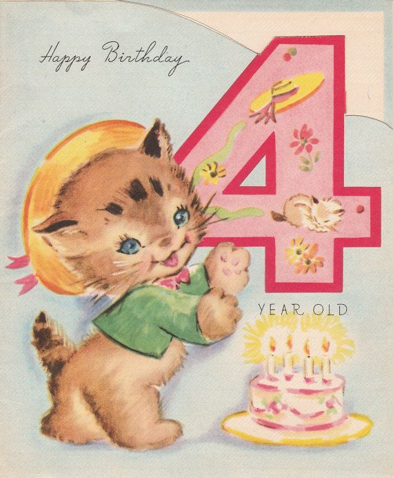 1940s Birthday Card For 4 Year Old Kitten By StuckyEstateSale