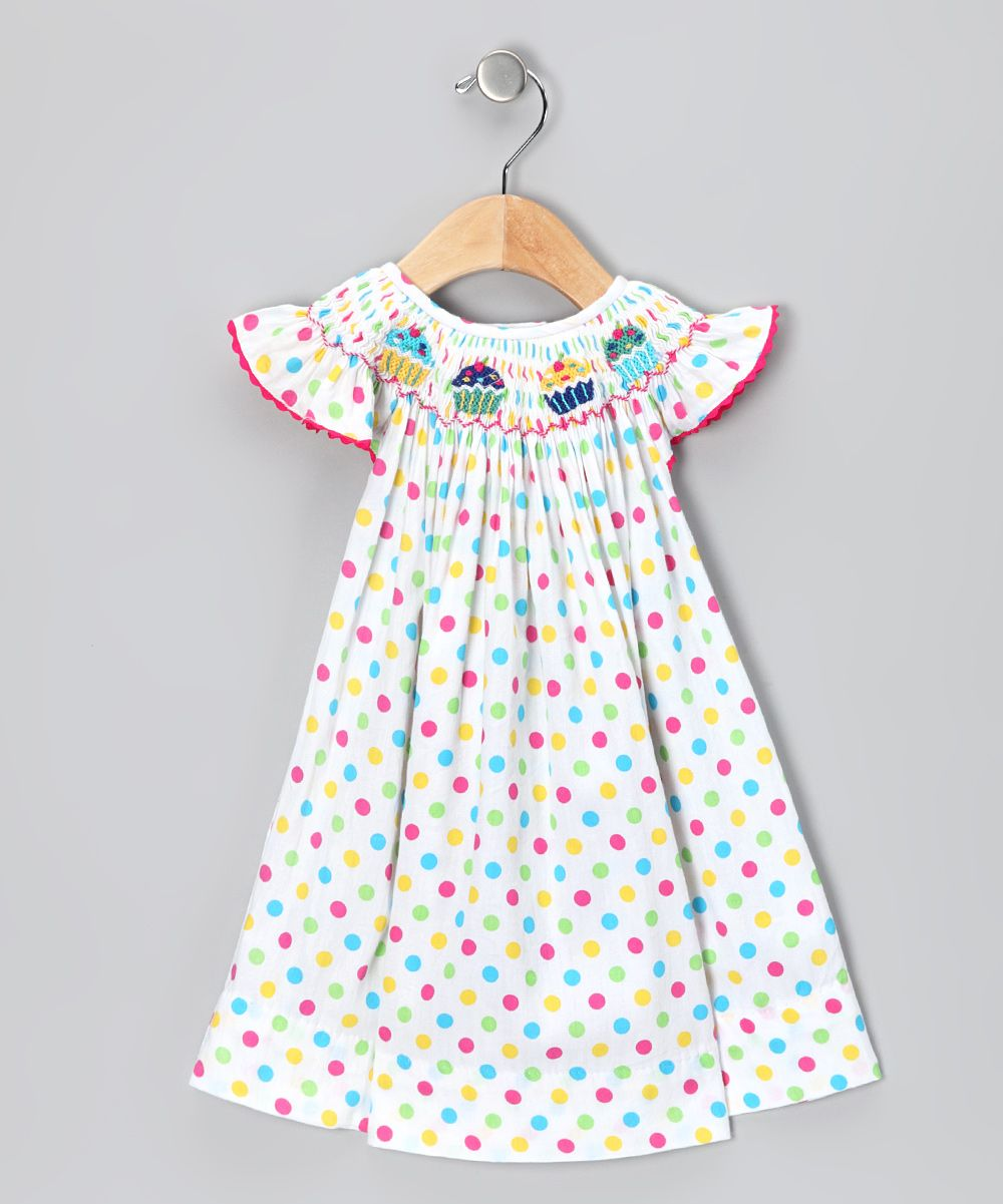 623fce3e8698 Smocked Sweets Rainbow Polka Dot Cupcake Dress