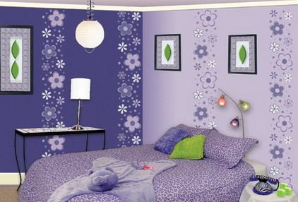 Cute Beautiful Purple Bedroom Decorating Ideas With Flowers Wall Stickers Decals