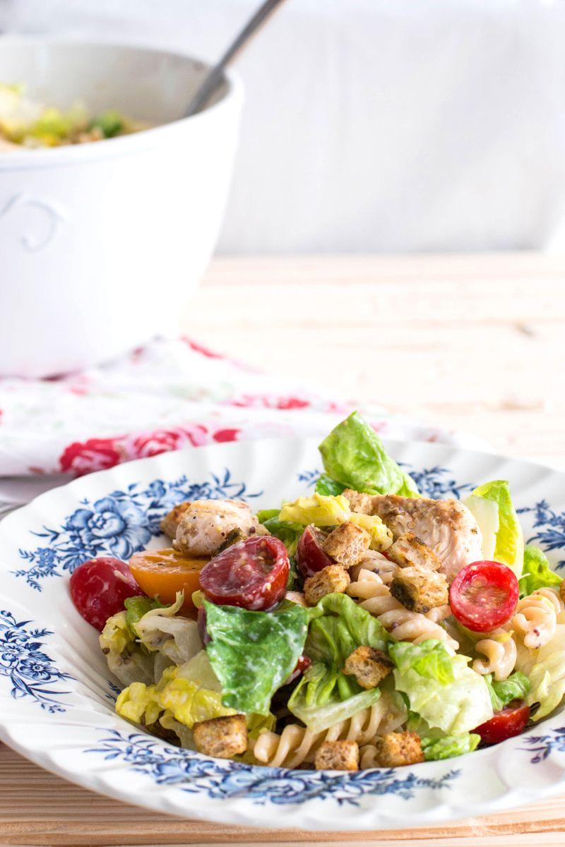 Lighter Chicken Caesar Pasta Salad   Try choosing darker greens i.e. spinach, collards or kale instead of lettuce.