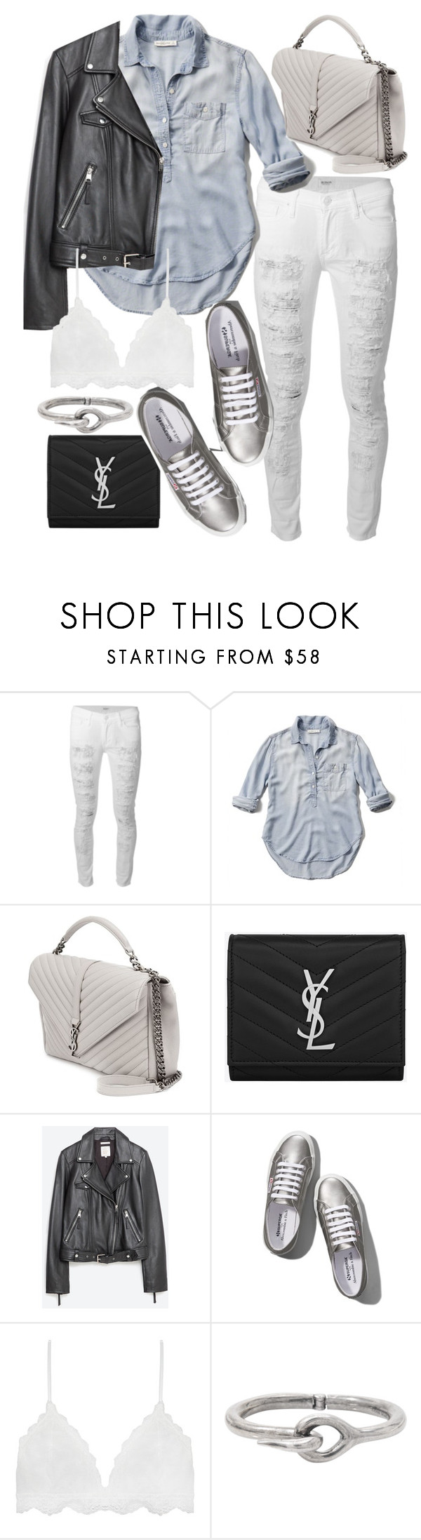 """Untitled #19846"" by florencia95 ❤ liked on Polyvore featuring Hudson, Abercrombie & Fitch, Yves Saint Laurent, Zara and Acne Studios"