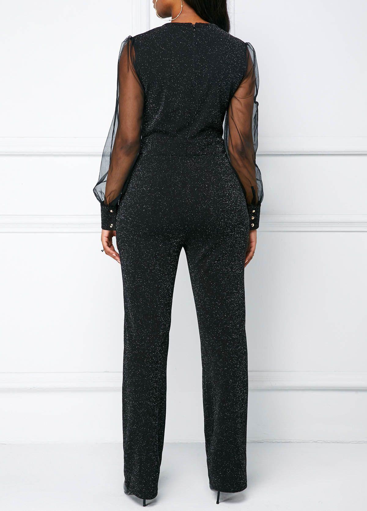 V Neck Mesh Panel Long Sleeve Black Jumpsuit Rotita Com Usd 31 56 Classy Jumpsuit Black Dresses Classy Jumpsuit Dressy [ 1674 x 1200 Pixel ]
