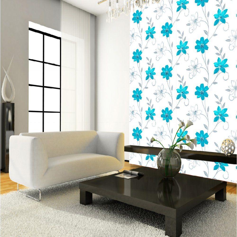 Luciana Flower Floral Leaf Motif Pattern Blue White Metallic