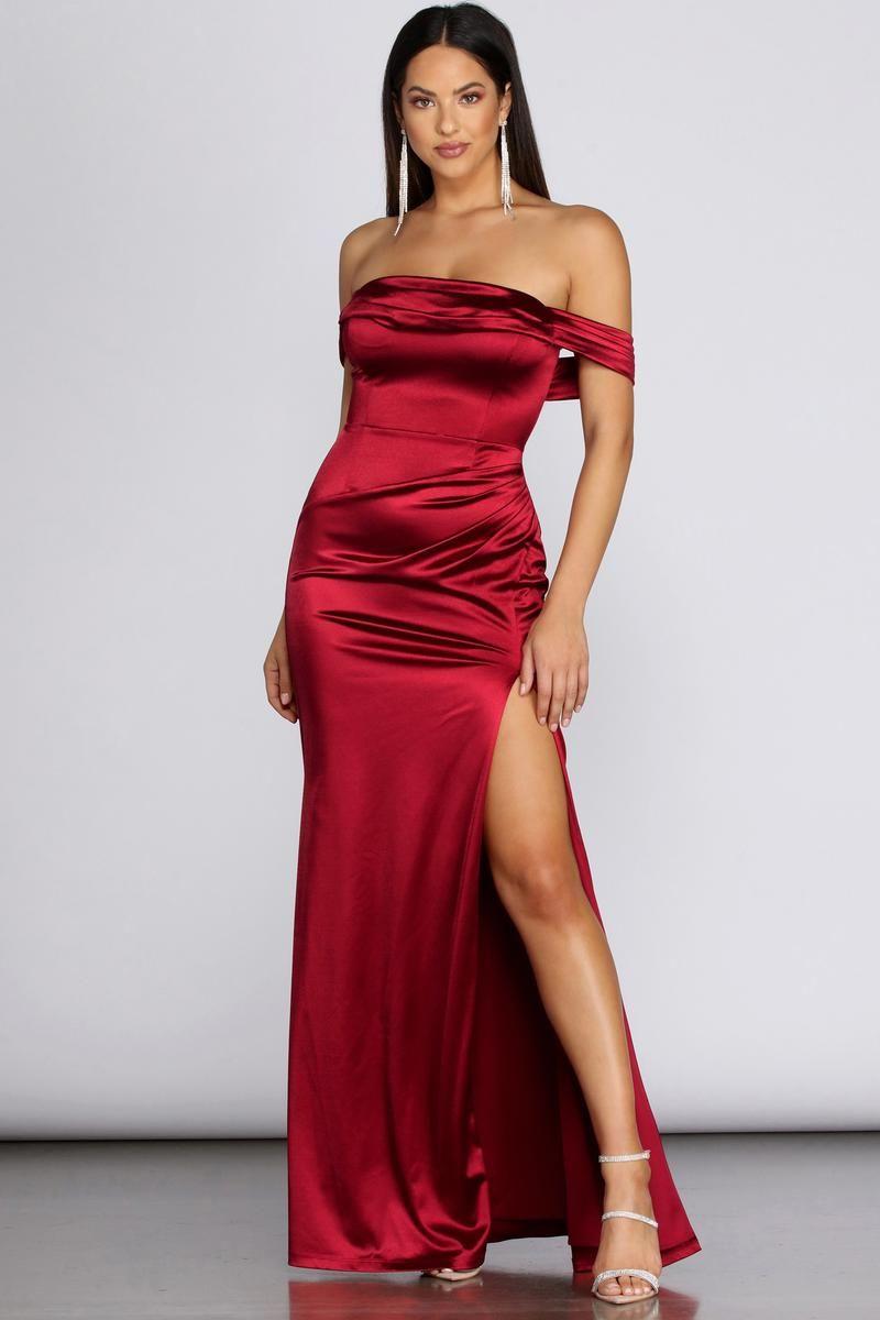 Madonna Satin Evening Gown | Evening gowns, Windsor dresses