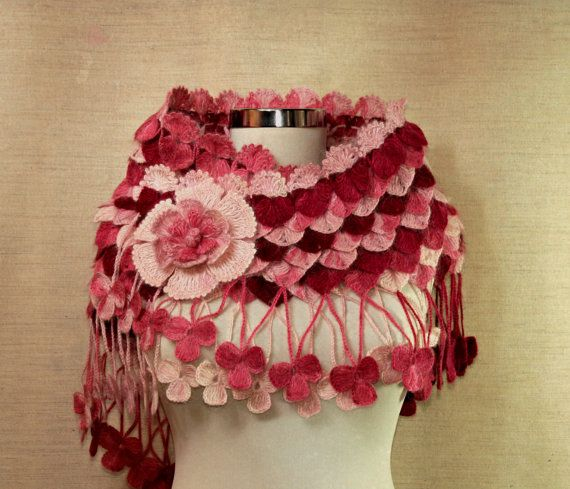 Crochet Raspberry Pink Shawl with Flower Brooch / Crocodile Shawl / Neckwarmer, Neck Wrap / Fall Winter Accessories. $125.00, via Etsy.