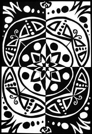 Positive / Negative Sharpie Drawing with Radial Balance - Conway High School Art Project