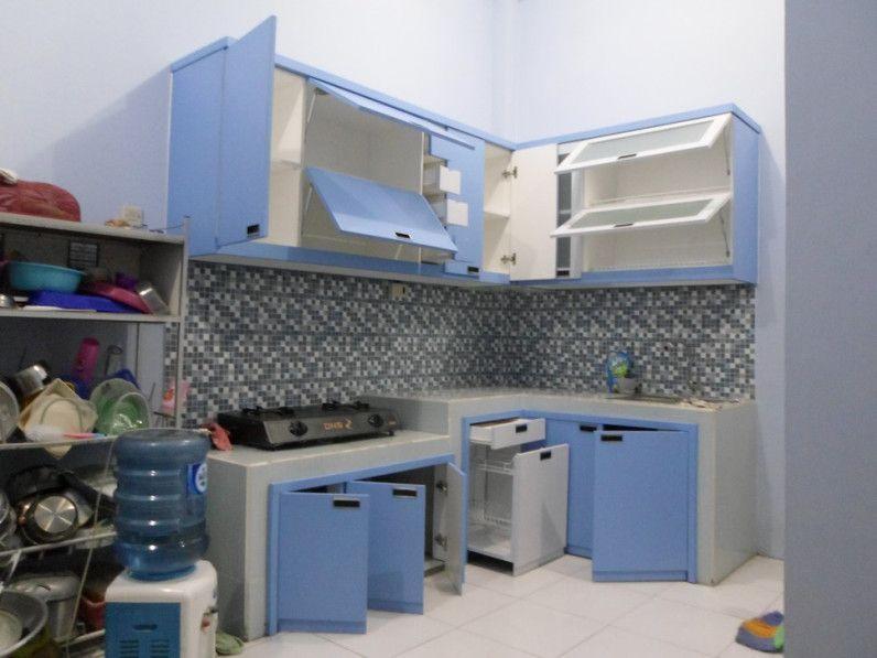 Kitchen Set Minimalis Bentuk L Warna Biru Handle Tanam Dapur
